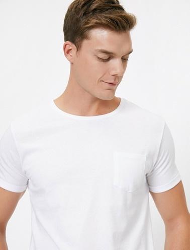 Koton Bisiklet Yaka Cep Detaylı Kolları Katlamali Slim Fit T-Shirt Beyaz